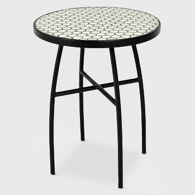 Ordinaire Mosaic Honeycomb Indoor/Outdoor Accent Table Black/Off White   Threshold™