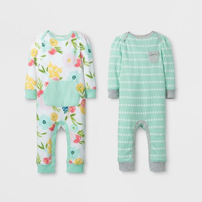 Baby Girls' 2pk Coverall Set Cloud Island™ - Mint/White 6-9M