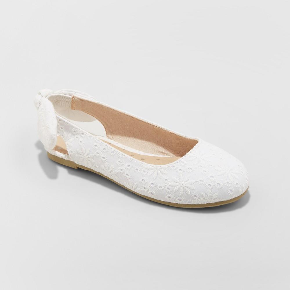 Girls' Freeda Slingback Ballet Flats - Cat & Jack White 13