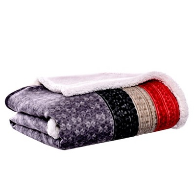 "Dark Gray Fair Isle Sherpa Throw (50 X 70"") - Eddie Bauer"
