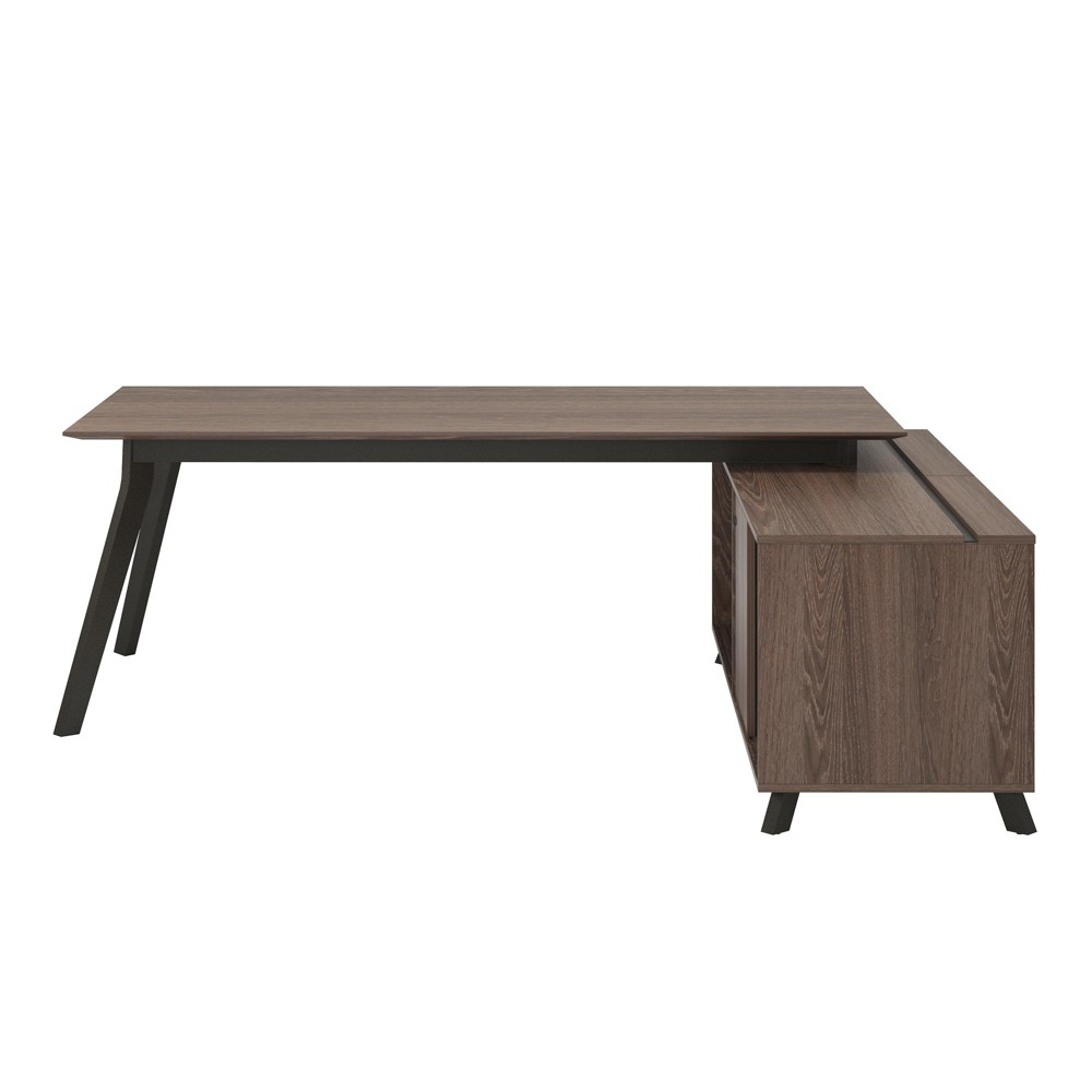Image of Ax1 L Shape Desk and Square Meeting Table Bundle Brown - Ameriwood Home