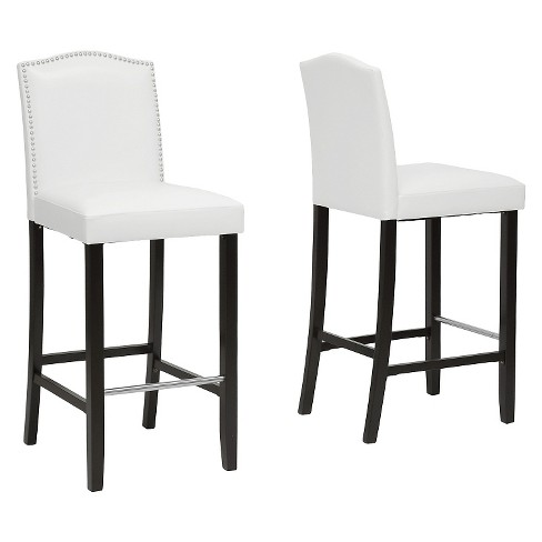 Cool Aries Modern Bar Stool With Nail Head Trim White Set Of 2 Baxton Studio Uwap Interior Chair Design Uwaporg