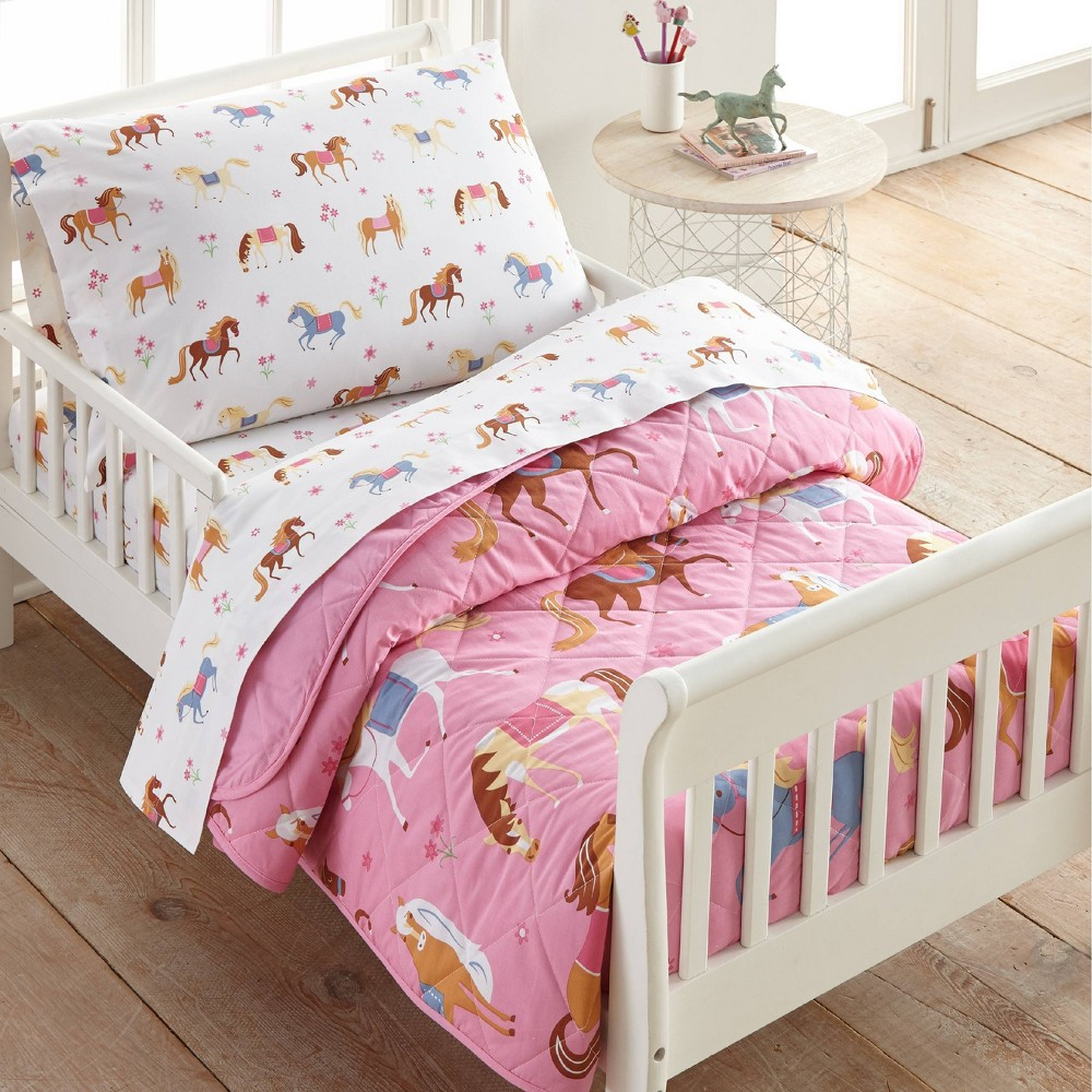 4pc Toddler Horses Cotton Bed In A Bag Wildkin