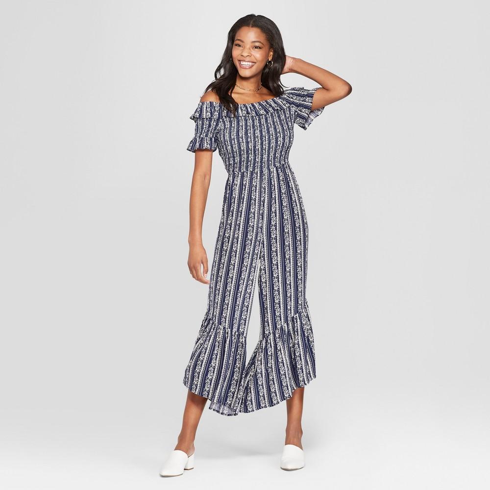 Women's Floral Print Short Sleeve Off the Shoulder Smocked Top Jumpsuit - Xhilaration Navy M, Blue