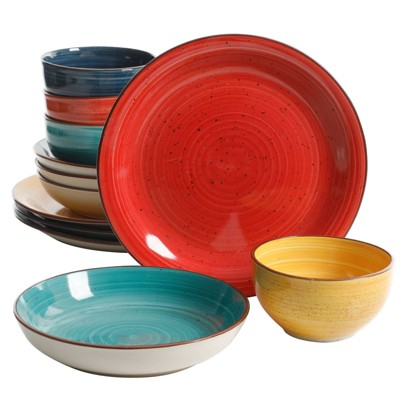 Gibson Home 12pc Stoneware Speckle Mix and Match Dinnerware Set