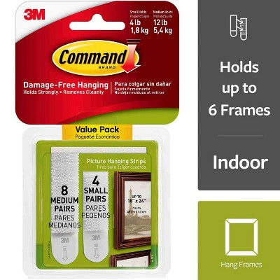 Command® Hook Picture Hanging Strips Combo - 12ct (8 Medium + 7 Small)