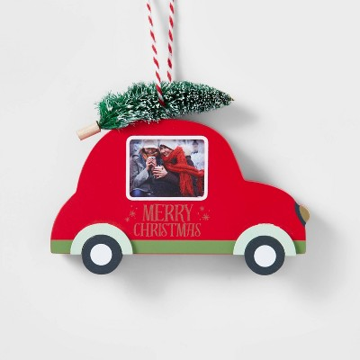 Wood Car with Tree Photo Frame Christmas Ornament Red - Wondershop™