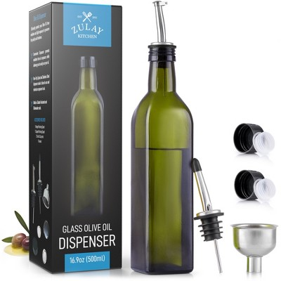 Zulay Kitchen Olive Oil Dispenser Bottle For Kitchen - Glass Olive Oil Bottle With 2 Spouts, 2 Removable Corks, 2 Caps, 1 Funnel