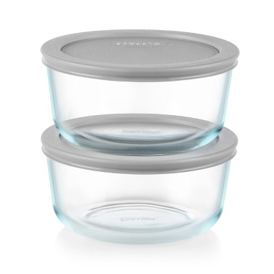 Pyrex 4 Cup 2pk Round Food Storage Container Set - Gray