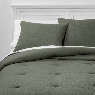 Full/Queen Micro Texture Comforter & Sham Set Olive - Project 62™ + Nate Berkus™