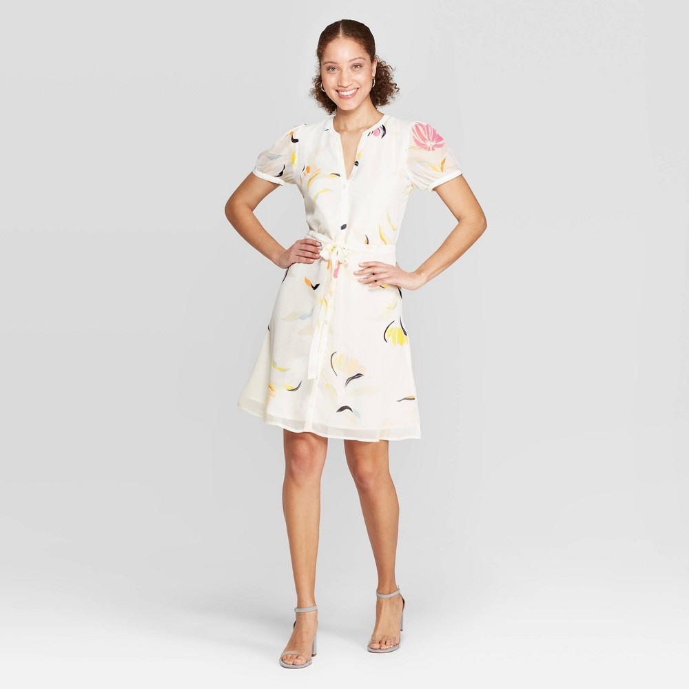 Women's Floral Print Casual Fit Cap Sleeve Deep V-Neck Dress - A New Day Cream XS, Beige