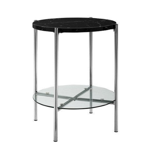 20 Mid Century Round Side Table Black Marble Top Chrome Saracina Home