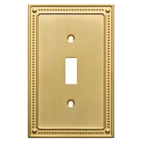 Classic Beaded Single Switch Wall Plate Brushed Brass Franklin