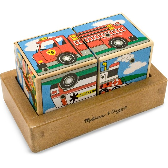 Melissa & Doug Vehicles Sound Blocks 6-in-1 Puzzle With Wooden Tray image number null