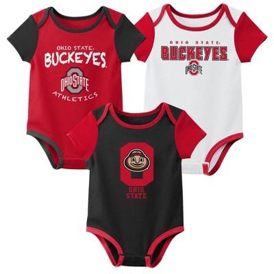 NCAA Ohio State Buckeyes Baby Boys' 3pk Bodysuit Set