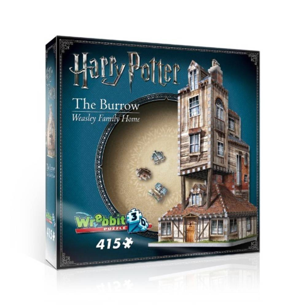 Wrebbit The Burrow Weasley Family Home 3D Puzzle 415pc What once was a little Tudor with large stone pigpen on the side grew upward to become the Weasley Family Home, which appears to be held up by magical means. Test your puzzling abilities with this 415-piece 3D puzzle by recreating The Burrow which Harry considered to be his second home after Hogwarts. Assembled dimensions: 8.75 inches L x 8.75 inches W x 15.5 inches H. Wrebbit 3D puzzles have snug and tight fitting foam back pieces that are easy to handle. They are the sturdiest 3D puzzles on the market. Highest quality of design and illustration. Made in Canada. Age - 14 and up. Warning: Choking Hazard -- Small parts. Not for children under 3 yrs. Gender: Unisex.