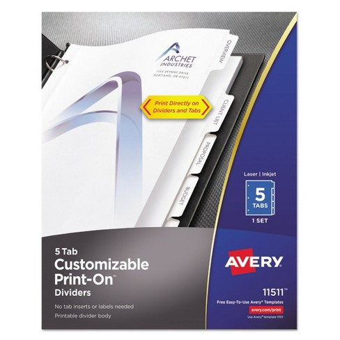 Avery® Print-On Dividers, 5-Tab, 3-Hole Punched, 8-1/2 x 11, White, 1/Pack - image 1 of 5