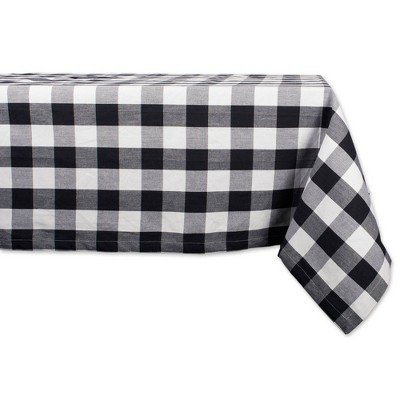 "84"" x 60"" Cotton Buffalo Check Tablecloth Black - Design Imports"