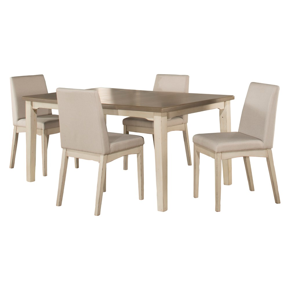 Clarion 5pc Rectangle Dining Set with Upholstered Chairs Gray Fog Fabric - Hillsdale Furniture, White