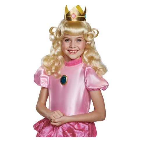 Girls Super Mario Princess Peach Halloween Costume Wig And Crown