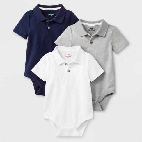 Baby Boys' 3pk Short Sleeve Polo Bodysuits - Cat & Jack™ Gray/Navy/White - image 1 of 1
