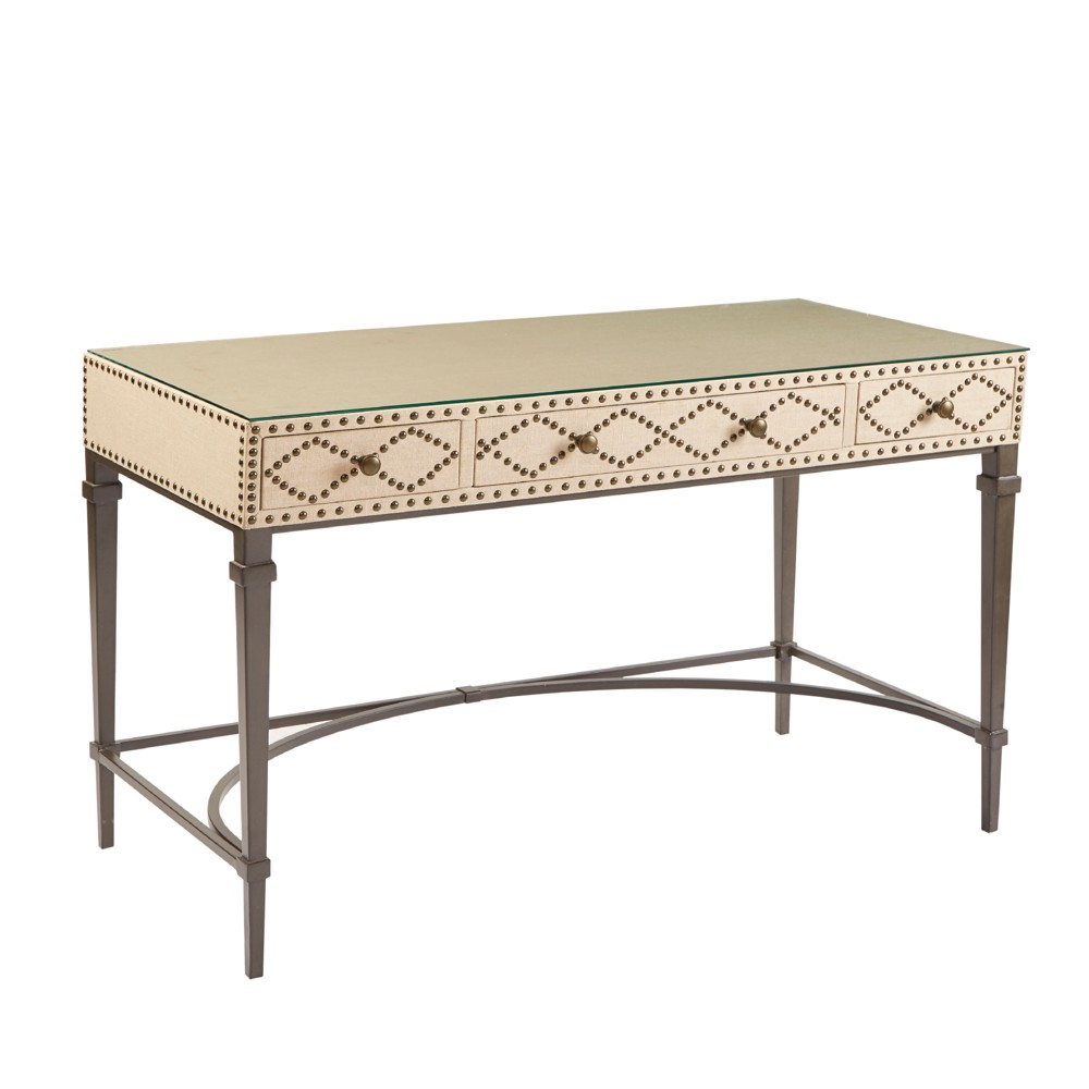 Rosalie Nailhead Writing Desk - Cream/Graphite (Ivory/Grey)