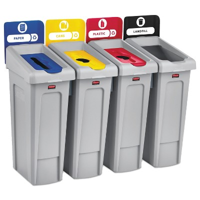 Rubbermaid Commercial Slim Jim Recycling Station Kit 92 gal 4-Stream Landfill/Paper/Plastic/Cans