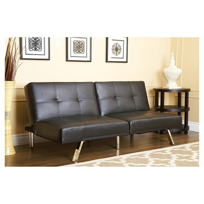Mackenzie Bonded Leather Convertible Sofa Black   Abbyson Living : Target