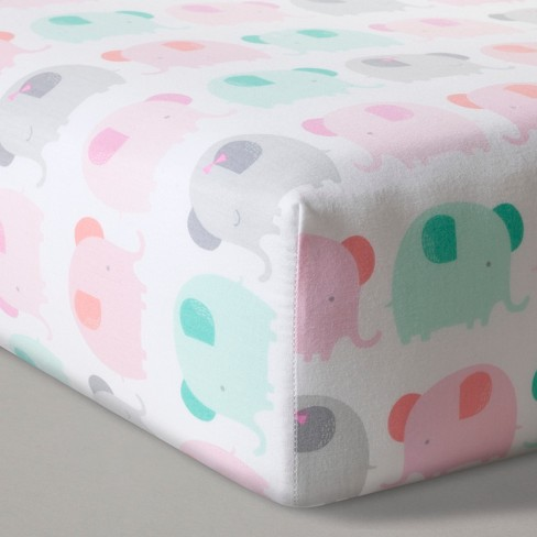 Fitted Crib Sheet Elephant Parade - Cloud Island™ Pink - image 1 of 3