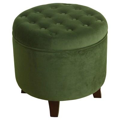 Large Round Tufted Storage Ottoman - HomePop