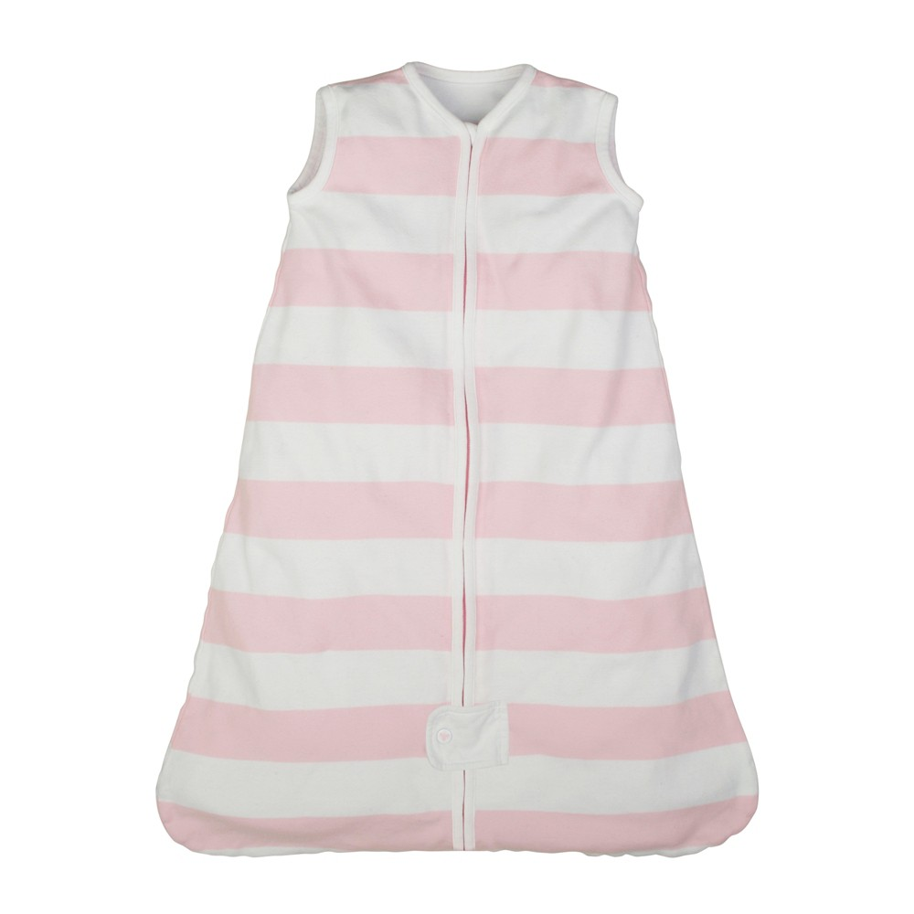 Image of Burt's Bees Baby Beekeeper Wearable Blanket Organic Cotton - Rugby Stripes - Pink - L