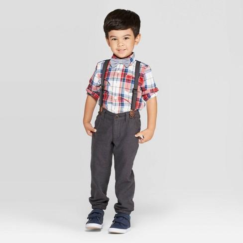 OshKosh B'gosh Toddler Boys' Suspender Chino Pants - Gray - image 1 of 3