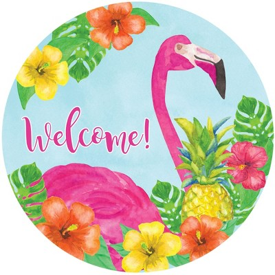 """Home & Garden 12.0"""" Flamingo  Stepping Stone Pineapple Hibiscus Pink Custom Decor  -  Stepping Stones And Pathways"""