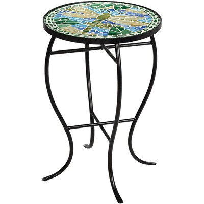 Teal Island Designs Dragonfly Mosaic Black Iron Outdoor Accent Table
