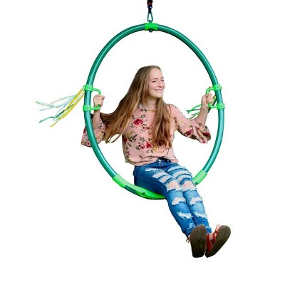HearthSong Hoopla Powder-Coated Steel Spinning Ring Swing with Spinner, Streamers, Easy-Grip Handles, and Contour Seat