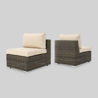 Santa Rosa 2pc Aluminum Sectional Sofa Seat with Sunbrella Cushions - Brown/Tan - Christopher Knight Home