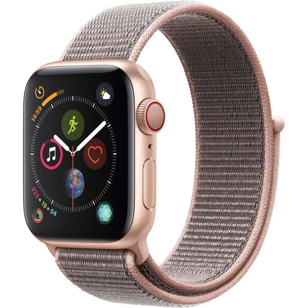 Apple Watch Series 4 Gps & Cellular 40mm Gold Aluminum Case with Sport Loop - Pink Sand, Pink Sand Sport Loop Fundamentally redesigned and reengineered. The largest Apple Watch display yet. Built-in electrical heart sensor. New Digital Crown with haptic feedback. Low and high heart rate notifications. Fall detection and Emergency Sos. New Breathe watch faces. Automatic workout detection. New yoga and hiking workouts. Advanced features for runners like cadence and pace alerts. New head-to-head competitions. Activity sharing with friends. Personalized coaching. Monthly challenges and achievement awards. Built-in cellular lets you use Walkie-Talkie, make phone calls, and send messages. Stream Apple Music and Apple Podcasts. And use Siri in all-new ways—even while you're away from your phone. With Apple Watch Series 4, you can do it all with just your watch. Selection may vary; see a sales associate for available models. Apple Watch Series 4 (Gps + Cellular) requires an iPhone 6 or later with iOS 12 or later. Wireless service plan required for cellular service. Apple Watch and iPhone service provider must be the same. Not all service providers support enterprise accounts; check with your employer and service provider. Roaming is not available outside your carrier network coverage area. Contact your service provider for more details. Apple Music requires a subscription. Compared with the previous generation. Iso standard 22810:2010. Appropriate for shallow-water activities like swimming. Submersion below shallow depth and high-velocity water activities not recommended. Color: Pink Sand Sport Loop.