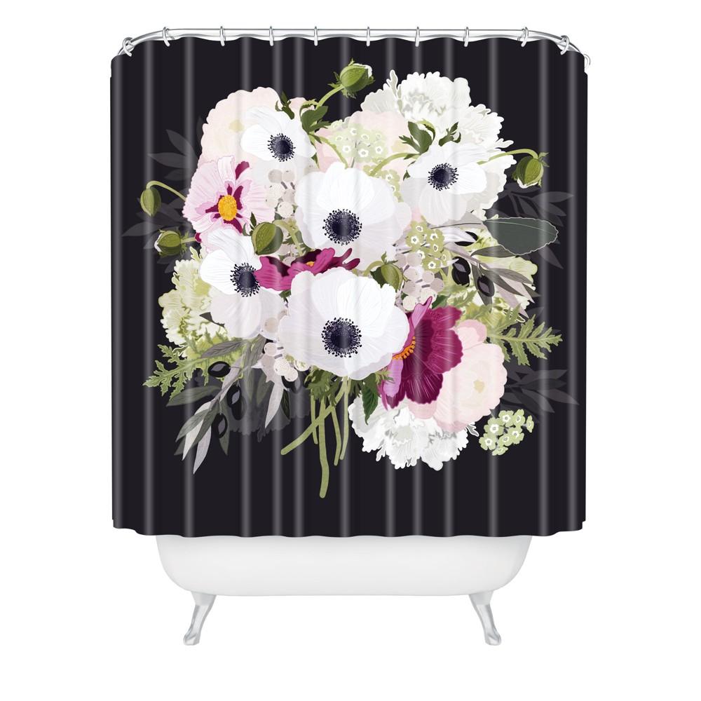 Antoinette Night Shower Curtain Black - Deny Designs