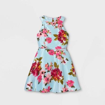 Zenzi Girls' Floral Shantung Dress - Aqua