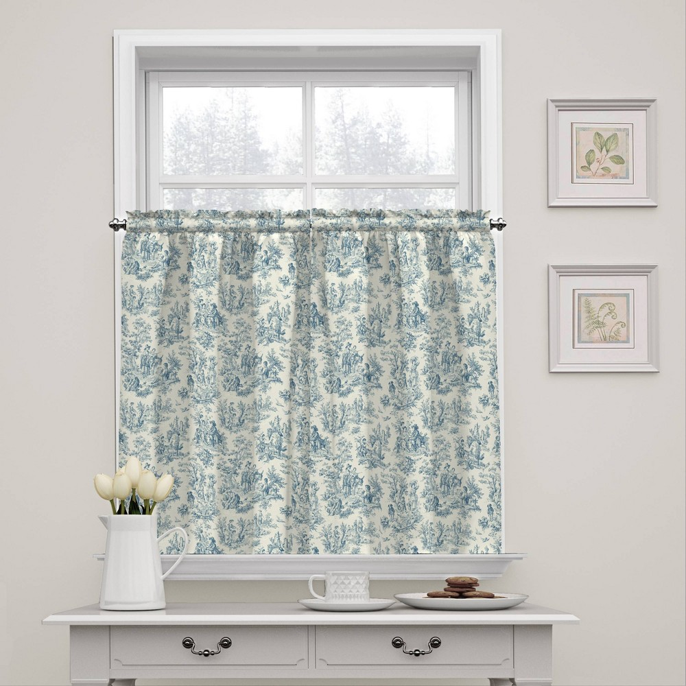 """Image of """"36""""""""x52"""""""" Charmed Life Floral Window Tier Pair Blue - Waverly"""""""