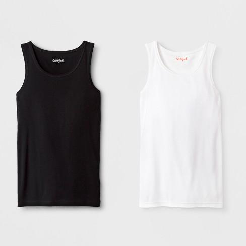 Girls' 2pk Tank Top - Cat & Jack™ Black/White - image 1 of 1