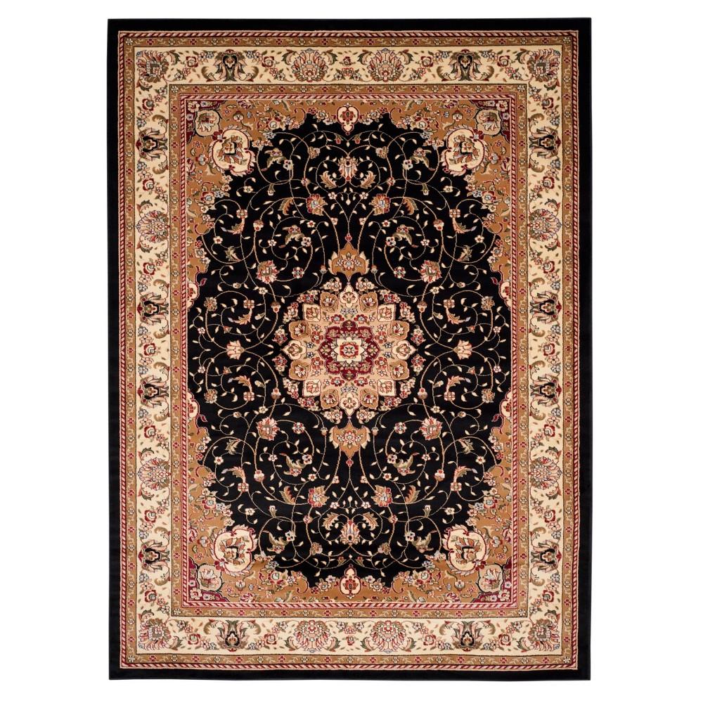 Black/Ivory Floral Loomed Area Rug 8'X11' - Safavieh