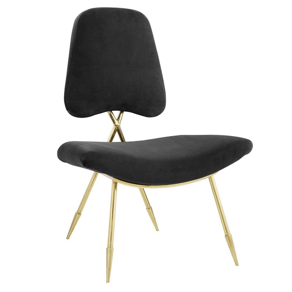 Ponder Upholstered Velvet Lounge Chair Black - Modway