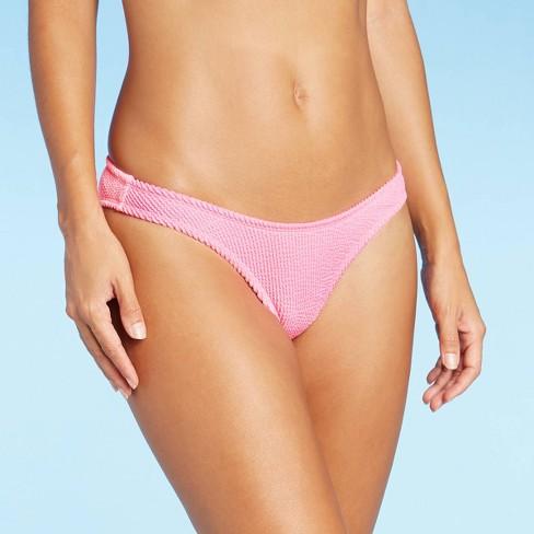 Juniors' Textured High Leg Bikini Bottom - Xhilaration™ Pink - image 1 of 4