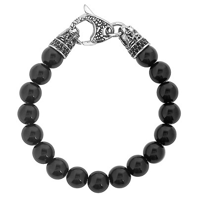 Men's Crucible Stainless Steel Dragon with Polished Black Onyx Beaded Bracelet