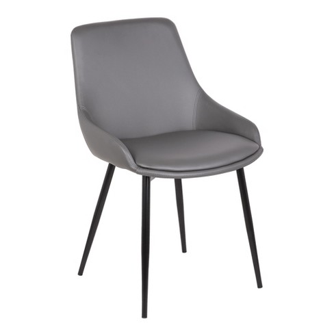 Mia Contemporary Dining Chair In Gray Faux Leather With Black Powder Coated Metal Legs Armen Living
