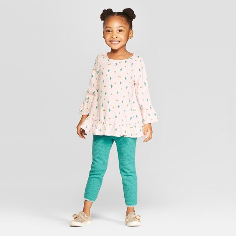 Genuine Kids® from OshKosh Toddler Girls' Long Sleeve Peasant Top and Bottom - Pink/Green 3T - image 1 of 3
