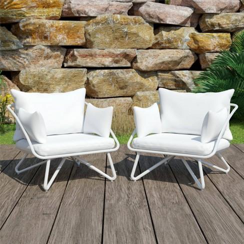 Teddi 2pk Patio Lounge Chairs White Novogratz Target