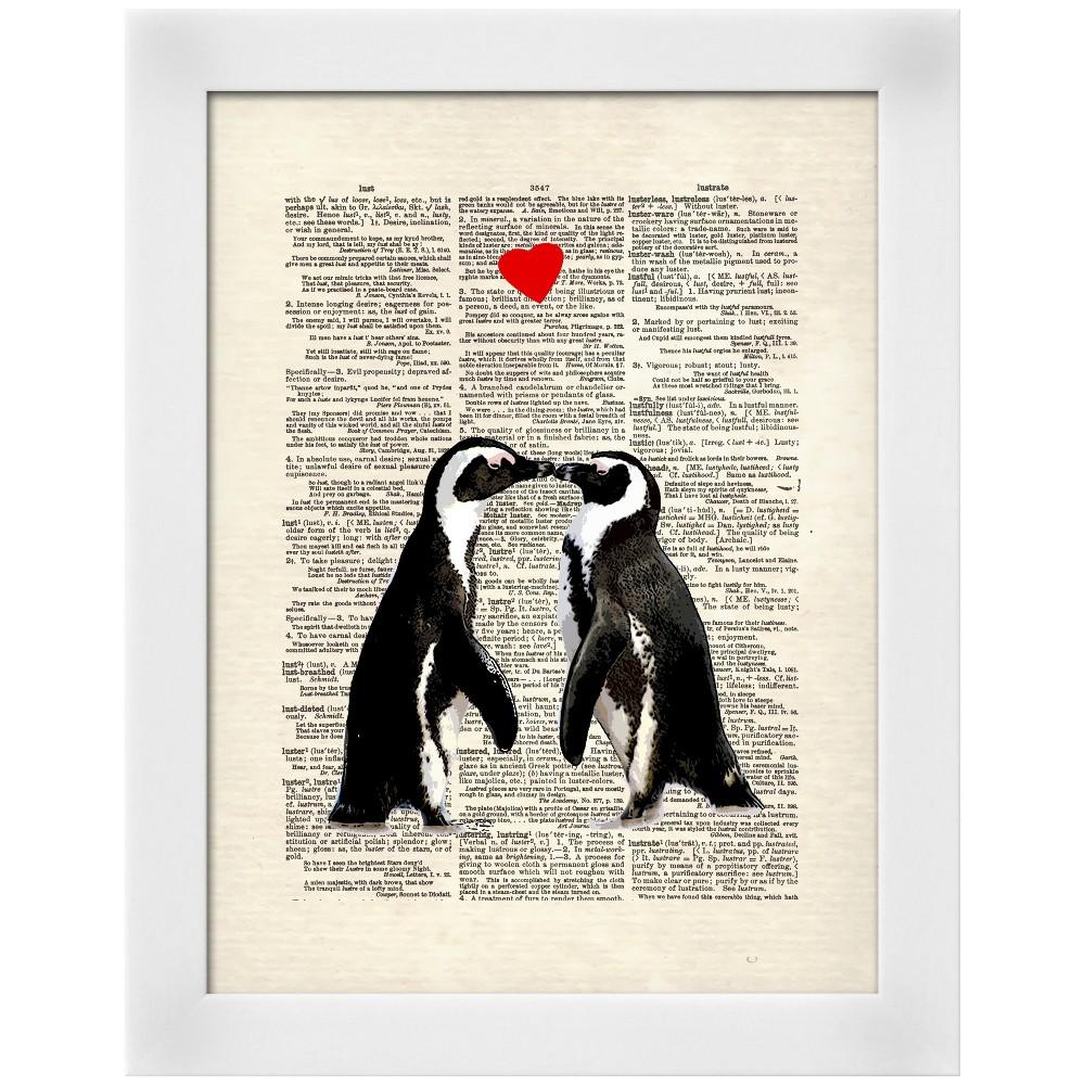 Penguin Lovers White Wood Framed Art Print, Red