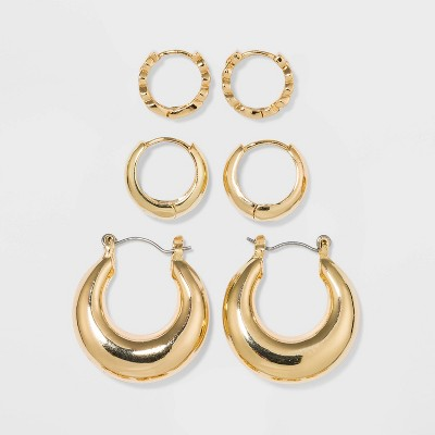 Shiny Gold Trio Hoop Earring Set 3pc - Wild Fable™ Gold